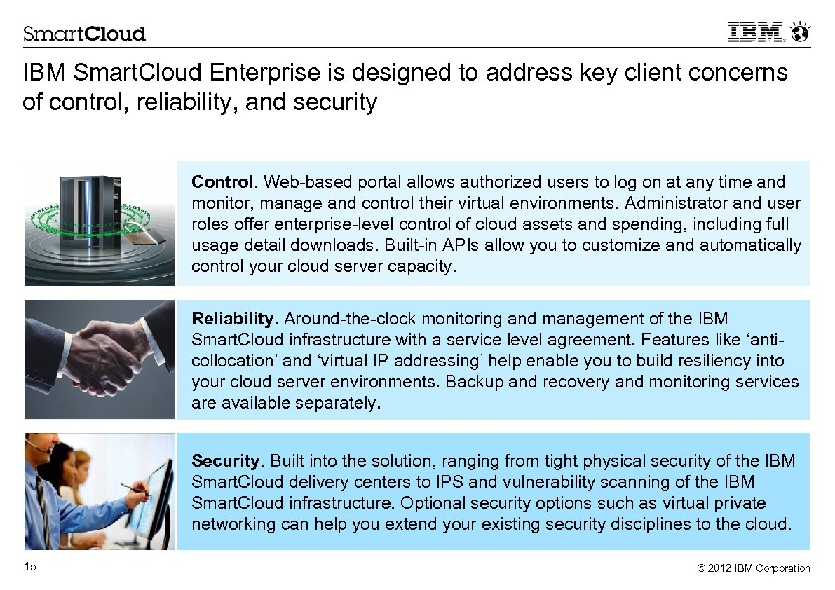 IBM Smart. Cloud Enterprise is designed to address key client concerns of control, reliability,