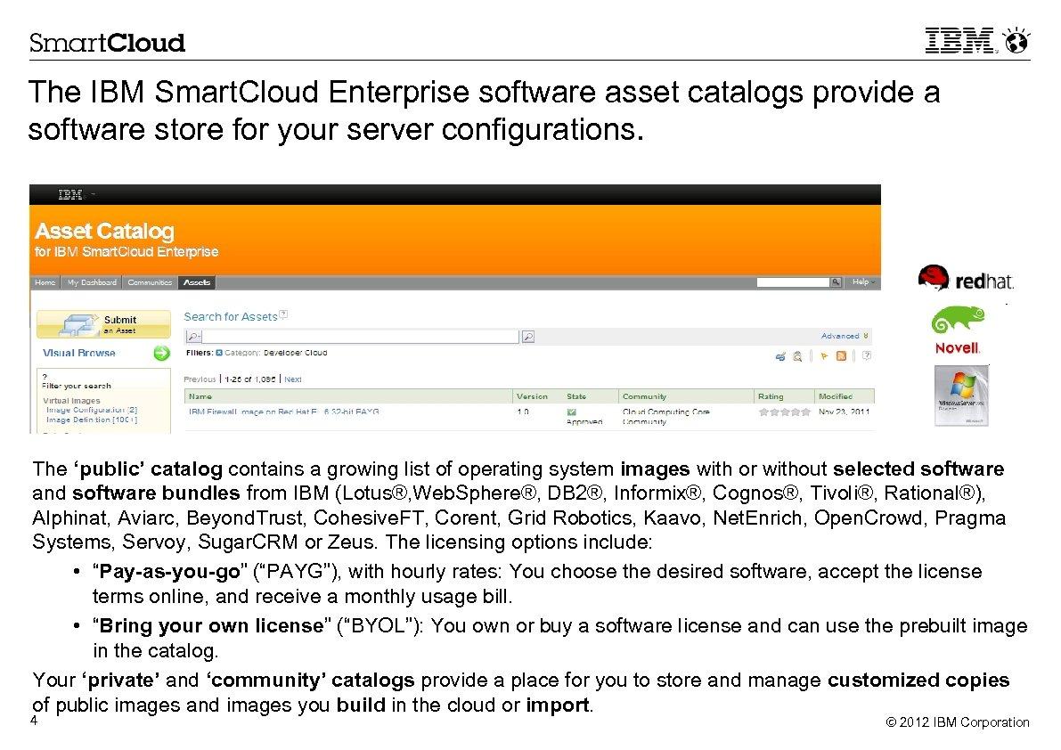 The IBM Smart. Cloud Enterprise software asset catalogs provide a software store for your