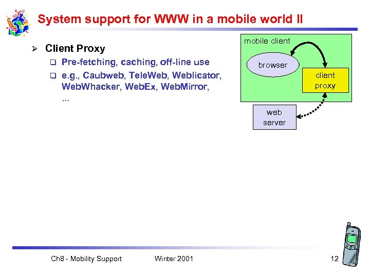 System support for WWW in a mobile world II Ø mobile client Client Proxy
