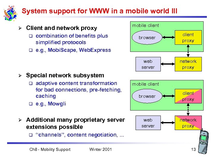 System support for WWW in a mobile world III Ø Client and network proxy