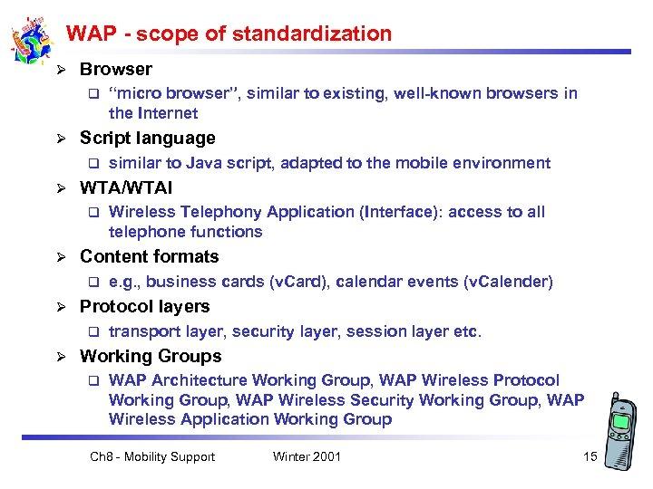 WAP - scope of standardization Ø Browser q Ø Script language q Ø e.