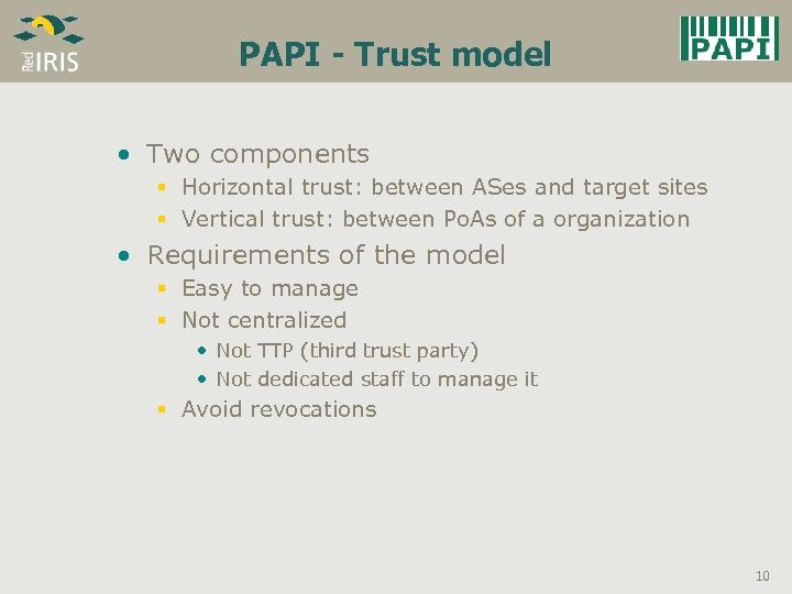 PAPI - Trust model • Two components § Horizontal trust: between ASes and target