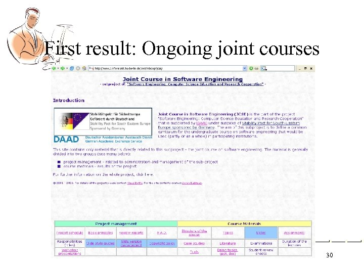 First result: Ongoing joint courses 30