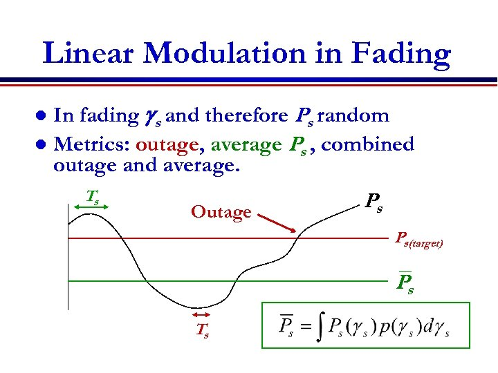 Linear Modulation in Fading In fading gs and therefore Ps random l Metrics: outage,