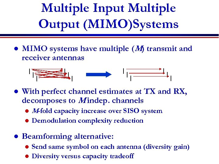 Multiple Input Multiple Output (MIMO)Systems l MIMO systems have multiple (M) transmit and receiver