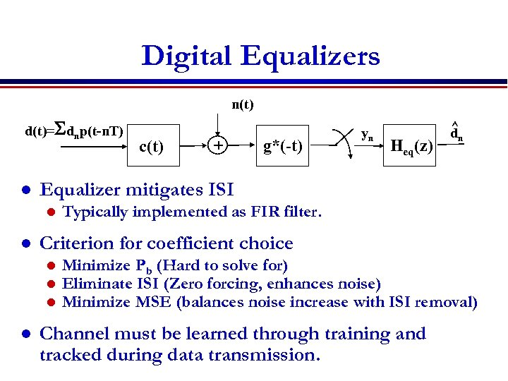 Digital Equalizers n(t) d(t)=Sdnp(t-n. T) l g*(-t) Heq(z) Typically implemented as FIR filter. Criterion