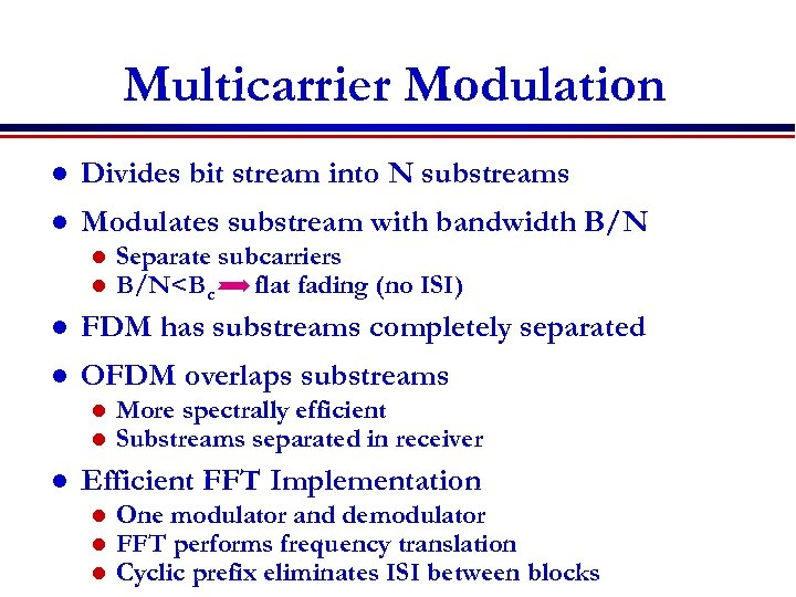 Multicarrier Modulation l Divides bit stream into N substreams l Modulates substream with bandwidth