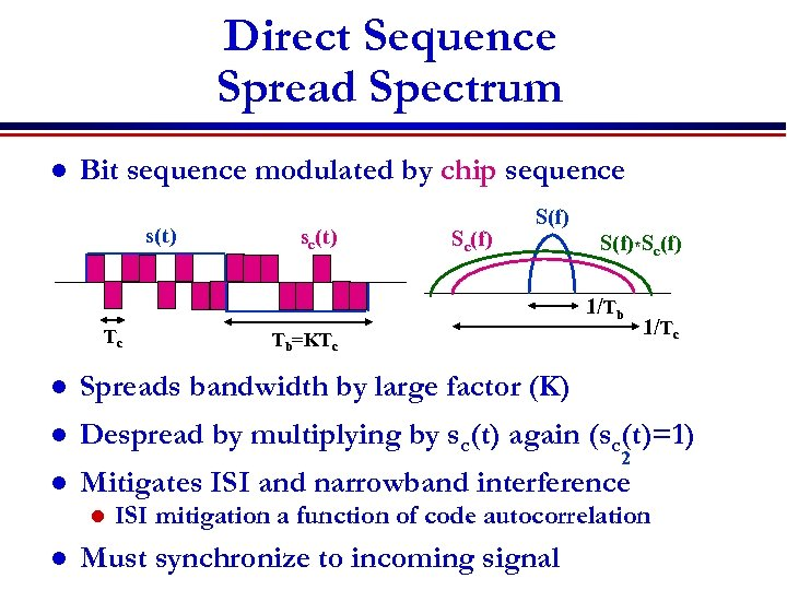 Direct Sequence Spread Spectrum l Bit sequence modulated by chip sequence s(t) sc(t) Sc(f)