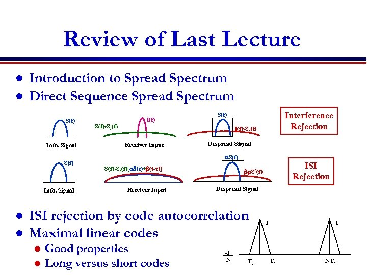 Review of Last Lecture l l Introduction to Spread Spectrum Direct Sequence Spread Spectrum