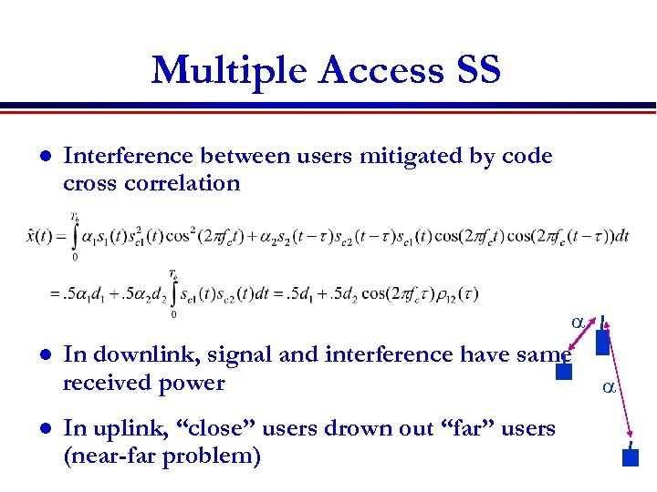Multiple Access SS l Interference between users mitigated by code cross correlation a l