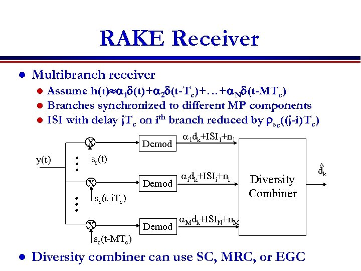 RAKE Receiver l Multibranch receiver l l l Assume h(t) a 1 d(t)+a 2