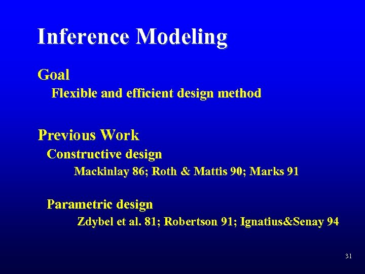 Inference Modeling Goal Flexible and efficient design method Previous Work Constructive design Mackinlay 86;
