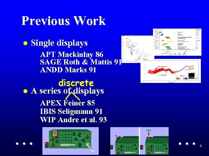 Previous Work l Single displays APT Mackinlay 86 SAGE Roth & Mattis 91 ANDD