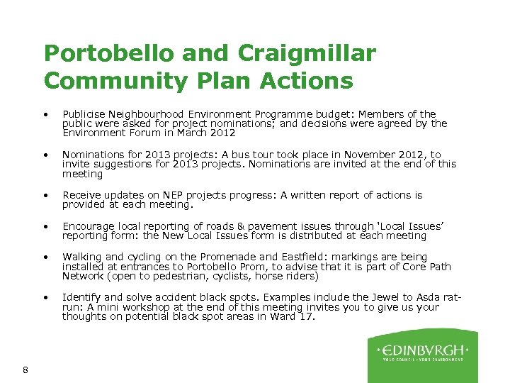 Portobello and Craigmillar Community Plan Actions • • Nominations for 2013 projects: A bus