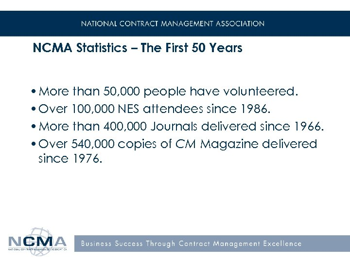 NCMA Statistics – The First 50 Years • More than 50, 000 people have
