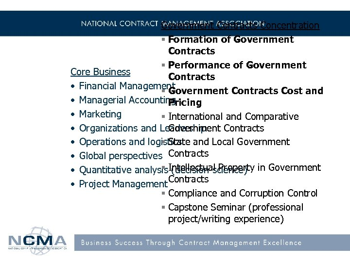 Government Contracts Concentration § Formation of Government Contracts § Performance of Government Core Business