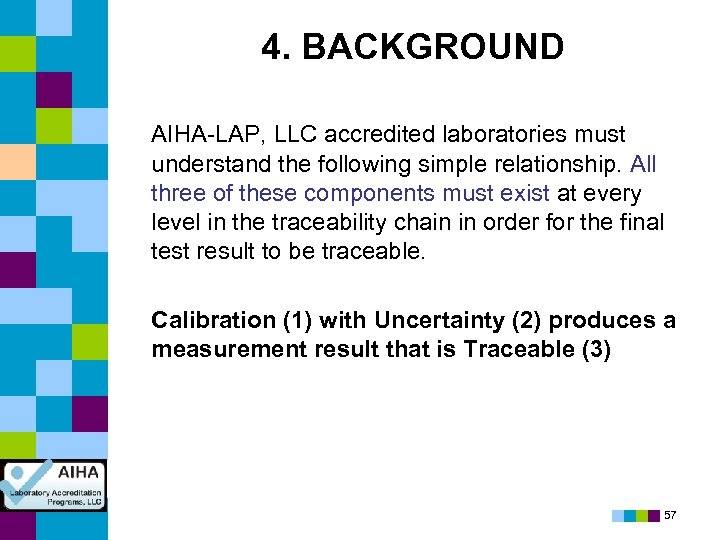 4. BACKGROUND AIHA-LAP, LLC accredited laboratories must understand the following simple relationship. All three