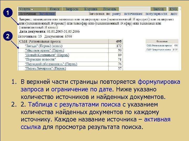 1 2 1. В верхней части страницы повторяется формулировка запроса и ограничение по дате.