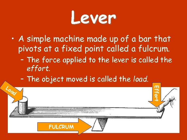 Lever • A simple machine made up of a bar that pivots at a