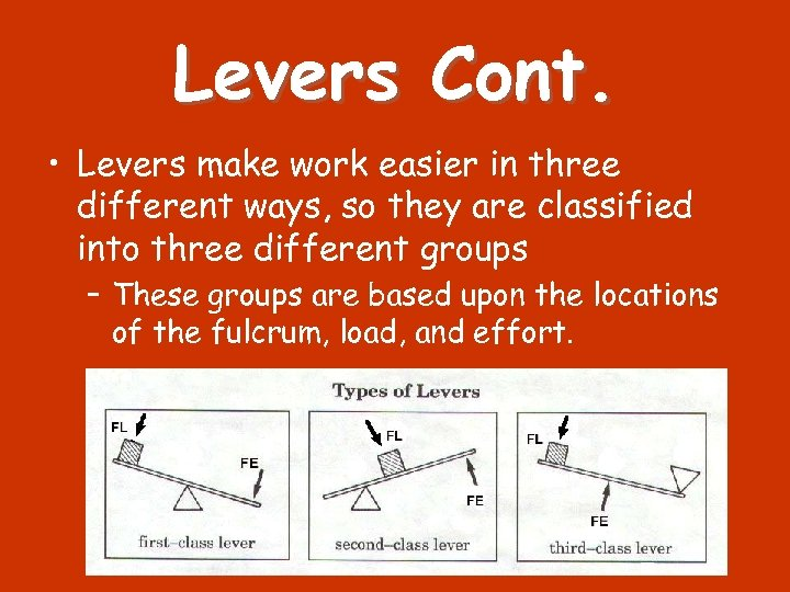 Levers Cont. • Levers make work easier in three different ways, so they are