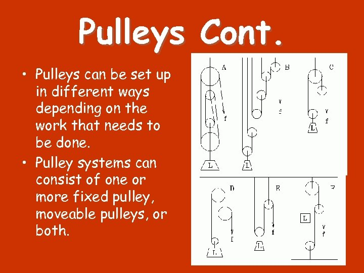 Pulleys Cont. • Pulleys can be set up in different ways depending on the