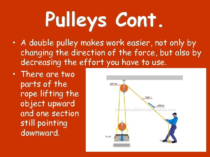 Pulleys Cont. • A double pulley makes work easier, not only by changing the