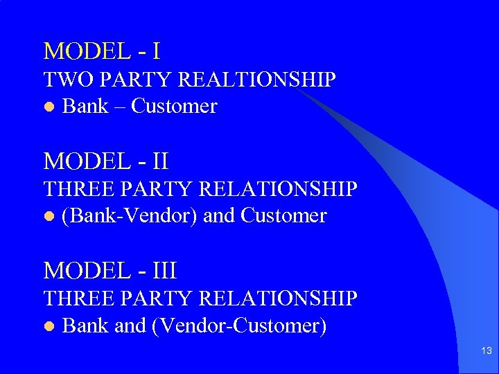 MODEL - I TWO PARTY REALTIONSHIP l Bank – Customer MODEL - II THREE