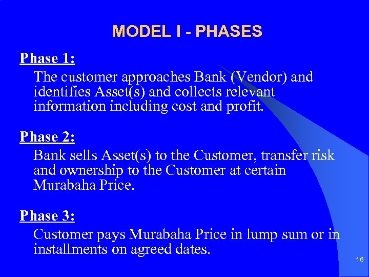 MODEL I - PHASES Phase 1: The customer approaches Bank (Vendor) and identifies Asset(s)