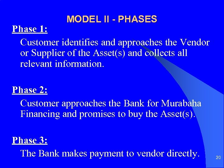 MODEL II - PHASES Phase 1: Customer identifies and approaches the Vendor or Supplier