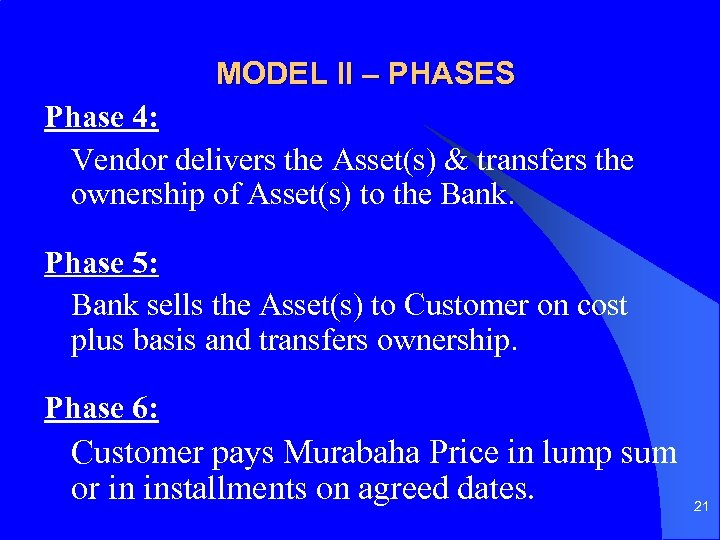 MODEL II – PHASES Phase 4: Vendor delivers the Asset(s) & transfers the ownership