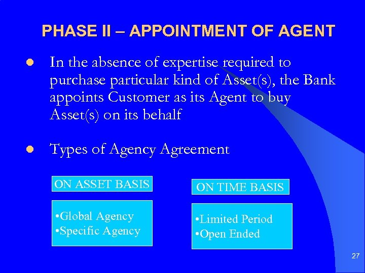 PHASE II – APPOINTMENT OF AGENT l In the absence of expertise required to