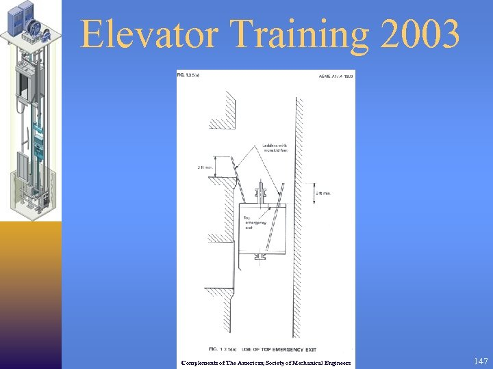 Elevator Training 2003 Complements of The American Society of Mechanical Engineers 147