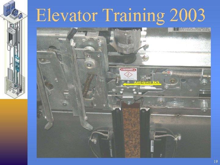 Elevator Training 2003 Anti-egress lock 19