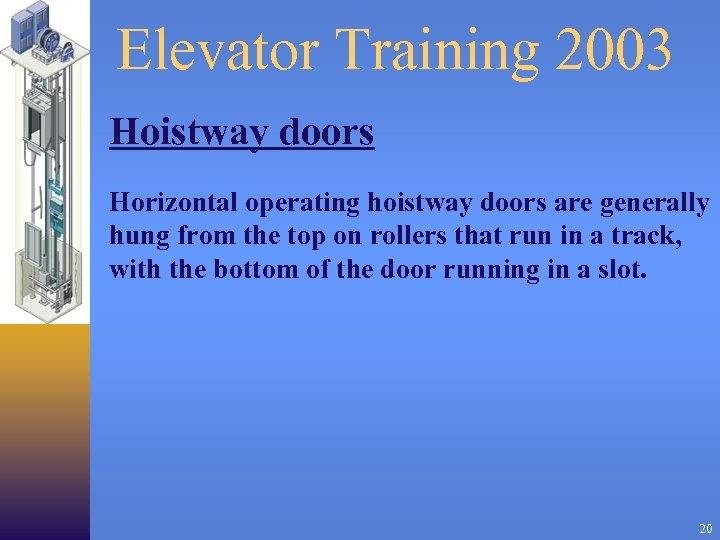 Elevator Training 2003 Hoistway doors Horizontal operating hoistway doors are generally hung from the