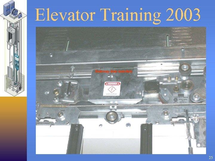 Elevator Training 2003 Hoistway door interlock 25
