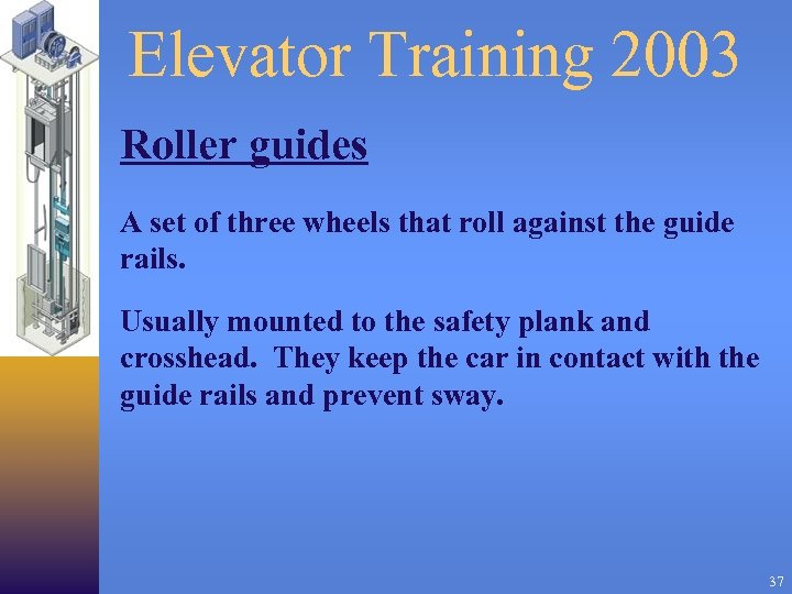 Elevator Training 2003 Roller guides A set of three wheels that roll against the