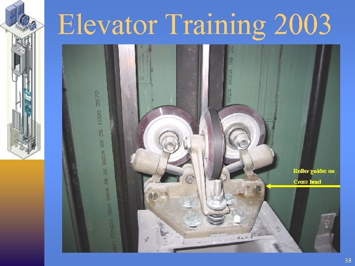 Elevator Training 2003 Roller guides on Cross head 38