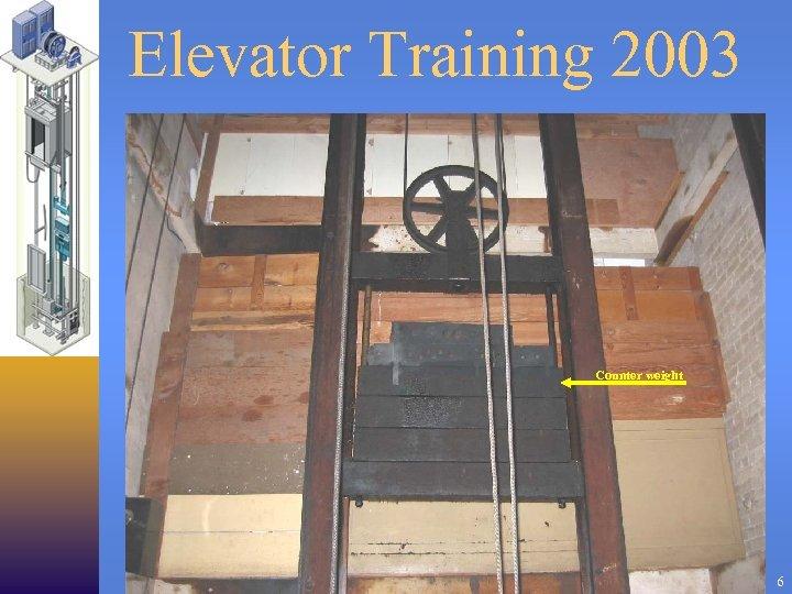 Elevator Training 2003 Counter weight 6