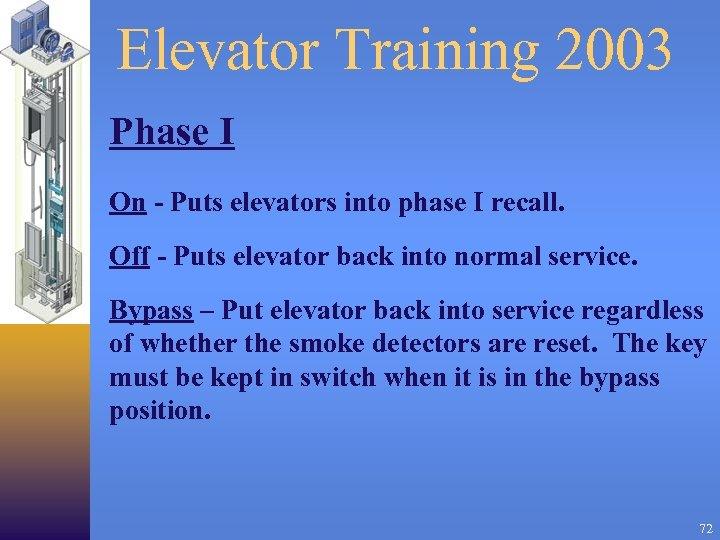 Elevator Training 2003 Phase I On - Puts elevators into phase I recall. Off