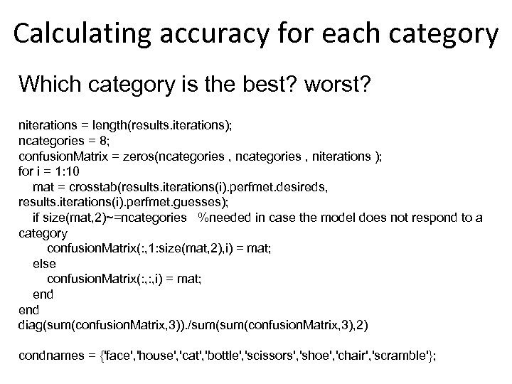 Calculating accuracy for each category Which category is the best? worst? niterations = length(results.