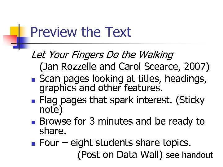 Preview the Text Let Your Fingers Do the Walking n n (Jan Rozzelle and