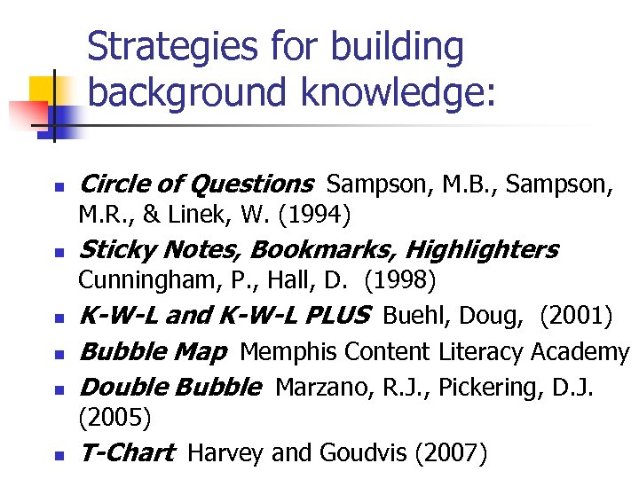 Strategies for building background knowledge: n Circle of Questions Sampson, M. B. , Sampson,