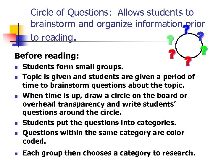 Circle of Questions: Allows students to brainstorm and organize information prior to reading. Before