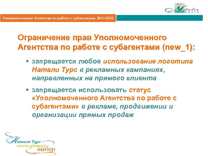 Агентская политика 2011 Уполномоченные Агентства по работе с субагентами 2011 -2012 Ограничение прав Уполномоченного