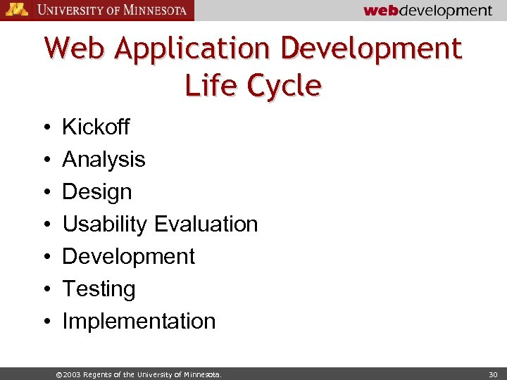 Web Application Development Life Cycle • • Kickoff Analysis Design Usability Evaluation Development Testing
