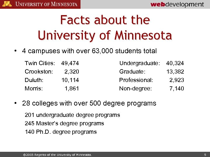 Facts about the University of Minnesota • 4 campuses with over 63, 000 students