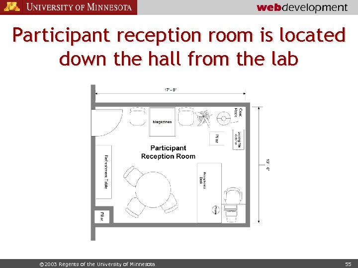 Participant reception room is located down the hall from the lab © 2003 Regents