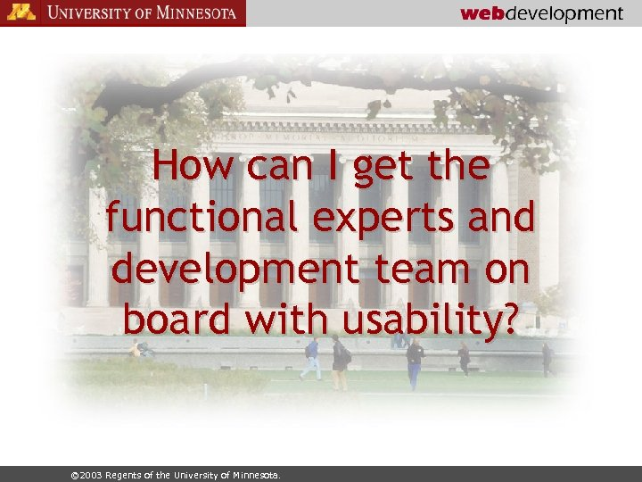 How can I get the functional experts and development team on board with usability?