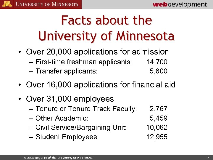 Facts about the University of Minnesota • Over 20, 000 applications for admission –