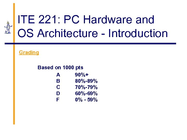 ITE 221: PC Hardware and OS Architecture - Introduction Grading Based on 1000 pts